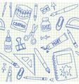 School supplies doodles on school squared paper vector image