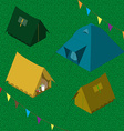 Four camping tents set vector image
