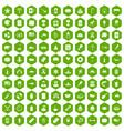 100 usa icons hexagon green vector image vector image
