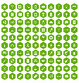 100 usa icons hexagon green