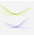 abstract elegant light waves set in blue green vector image vector image