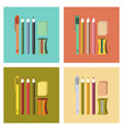 assembly flat icons pencil eraser pen vector image vector image