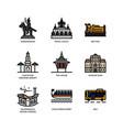 bangkok symbols and landmarks icons vector image