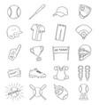 baseball outline icon set baseball elements vector image