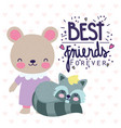 best friends forever cute bear and raccoon hearts vector image vector image