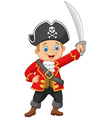 Cartoon captain pirate holding a sword vector image vector image