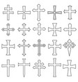 christian crosses icons set outline vector image