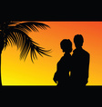 couple with palm silhouette vector image vector image
