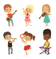 Different kids singing musicians isolate on white vector image