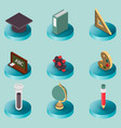 education flat isometric set vector image vector image
