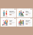 family website landing page flat set vector image vector image