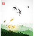 flying swallow birds green grass and forest vector image vector image