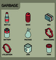 garbage color outline isometric icons vector image vector image