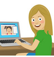 girl chatting with her girlfriend using laptop vector image