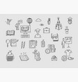 hand drawn doodle school icons and symbols vector image