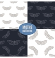 Hand drawn hawk moth seamless patterns set vector image vector image