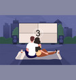 happy cute couple is watching a movie in an open vector image