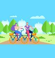 healthy sport activity for two flat cycling banner vector image