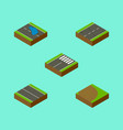 isometric way set of plash rotation footer and