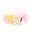 just married couple standing next huge wedding vector image vector image