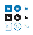linkedin social media icons vector image vector image