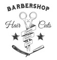 logotype for barbershop in black and white style vector image