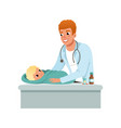 male pediatrician doing medical exam of baby at vector image vector image