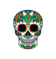 mexican sugar skull with colorful floral pattern vector image vector image