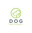 minimalist dog with ear leaf logo icon template vector image vector image