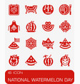 national watermelon day icon set vector image
