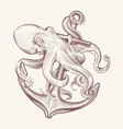 octopus with anchor sketch sea kraken squid vector image