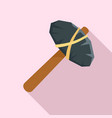 old stone hammer icon flat style vector image