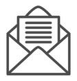 open envelope line icon letter vector image vector image
