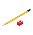 pencil with eraser and red sharpener isolated on vector image vector image