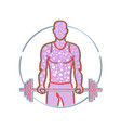 personal trainer lifting barbell memphis style vector image vector image