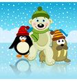polar bear walrus penguin friends vector image vector image