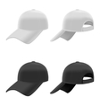 Realistic Black and White Baseball Cap Set vector image vector image