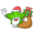 santa with gift mascot cartoon beautiful ivy leaf vector image vector image