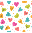 Seamless pattern with hand drawn smiley hearts vector image vector image