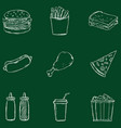 set chalk fast food icons vector image vector image