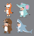 set of cartoon kid characters in animals costumes vector image vector image