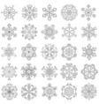 snowflake set in zentangle style 25 original snow vector image vector image