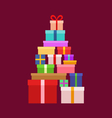 stack christmas boxes vector image