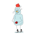 stock funny snowman with gift vector image vector image