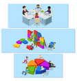 team building banner horizontal set isometric vector image