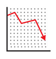 trend down graph icon stock icon on white vector image vector image
