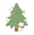 white cat and tree lights celebration merry vector image vector image