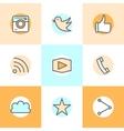 Flat line set icons designs of camera like bird vector image