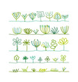 abstract trees collection vector image vector image