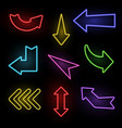 arrows neon electric light direction arrow shapes vector image vector image
